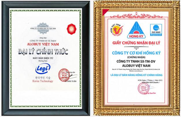 Chứng nhận đại lý phân phối máy hàn điện từ Hàn Quốc