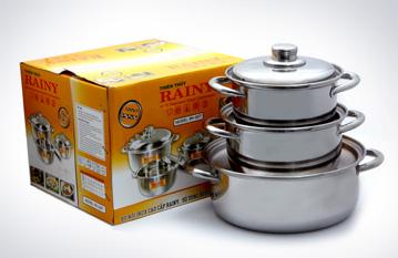Bộ 3 nồi inox 3 đáy Rainy RN-06H