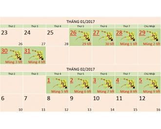 Thông báo lịch nghỉ tết Nguyên Đán Xuân Đinh Dậu 2017