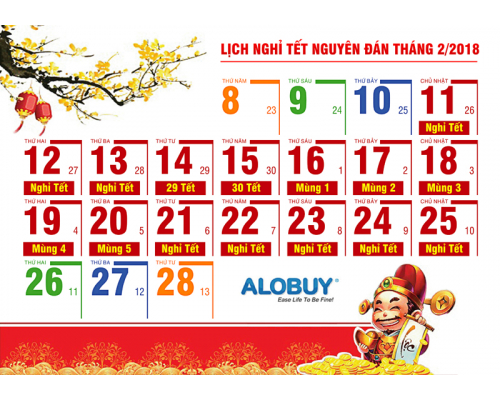 Thông báo lịch nghỉ tết Nguyên Đán Xuân Mậu Tuất 2018 ALOBUY Việt Nam