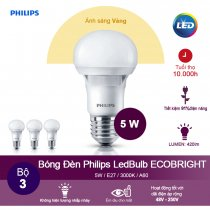 (Bộ 3) Bóng đèn Philips Ecobright LEDBulb 5W 3000K đuôi E27 A60 - Ánh sáng vàng