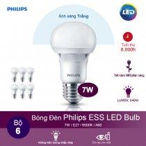 (Bộ 6) Bóng đèn Philips ESS LEDBulb 7W 6500K đuôi E27 230V A60 - Ánh sáng trắng