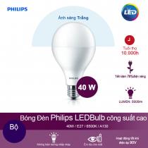 Bóng đèn LED công suất cao Philips LEDBulb 40W 6500K E27 A130 - Ánh sáng trắng