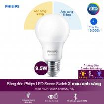 Bóng đèn LED Philips Scene Switch đổi màu ánh sáng 9.5W E27 A60