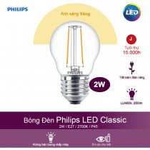 Bóng đèn Philips LED Classic 2W 2700K E27 P45