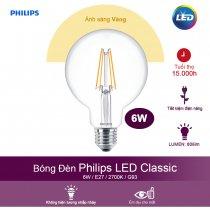 Bóng đèn Philips LED Classic 6W 2700K E27 G93