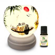 Đèn xông tinh dầu gốm Bát Tràng - Phong Cảnh Thuyền