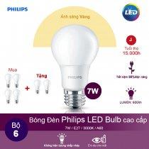 (Mua 4 tặng 2) Bóng đèn Philips Ledbulb 7W 3000K đuôi E27 230V A60 - Ánh sáng vàng
