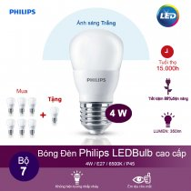 (Mua 6 tặng 1) Bóng đèn Philips Ledbulb 4W 6500K đuôi E27 220V P45 - Ánh sáng trắng