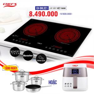 Bếp hồng ngoại đôi cảm ứng CHEFS EH-DHL321