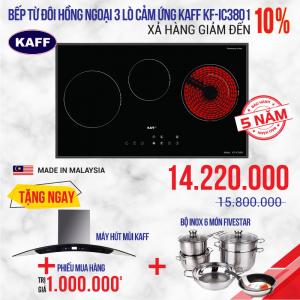 Bếp từ đôi hồng ngoại 3 lò cảm ứng KAFF KF-IC3801