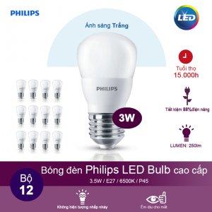 (Bộ 12) Bóng đèn Philips LEDBulb 3W 6500K đuôi E27 230V P45 - Ánh sáng trắng