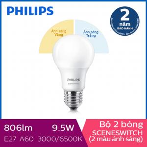 Bộ 2 Bóng đèn Philips LED Scene Switch đổi màu ánh sáng 9.5W 3000K/6500K E27 A60 (Trắng / Vàng)
