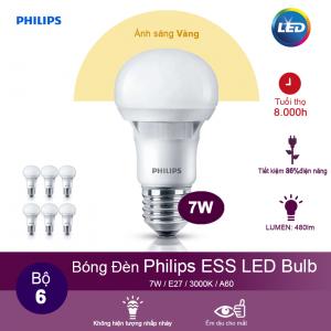(Bộ 6) Bóng đèn Philips ESS LEDBulb 7W 3000K đuôi E27 230V A60 - Ánh sáng vàng