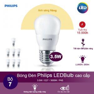 (Bộ 7) Bóng đèn Philips LEDBulb 3.5W 3000K đuôi E27 230V P45 - Ánh sáng vàng