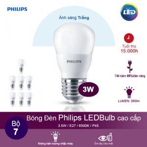 (Bộ 7) Bóng đèn Philips LEDBulb 3W 6500K đuôi E27 230V P45 - Ánh sáng trắng