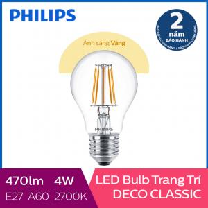 Bóng đèn Philips LED Classic 4W 2700K E27 A60 - Ánh sáng vàng