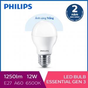 Bóng đèn Philips LED Essential Gen3 12W 6500K E27 A60 - Ánh sáng trắng