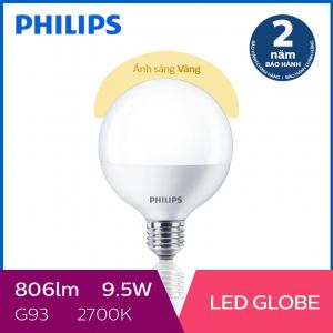 Bóng đèn Philips LED Globe 9.5W 2700K G93 E27 - Ánh sáng vàng