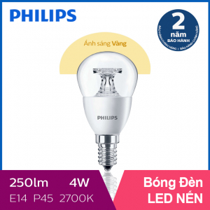Bóng đèn Philips LED Nến 4W 2700K E14 P45 - Ánh sáng vàng
