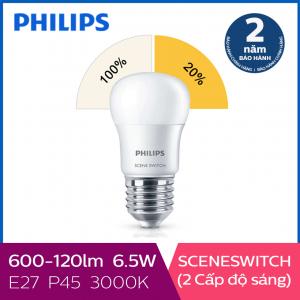 Bóng đèn Philips LED Scene Switch 2 cấp độ chiếu sáng 6.5W 3000K E27 P45 - Ánh sáng vàng
