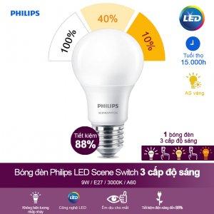 Bóng Đèn Philips Led Scene Switch 3 Cấp Độ Chiếu Sáng 9W 3000k Đuôi E27 - Ánh Sáng Vàng