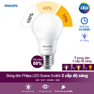 Bóng Đèn Philips Led Scene Switch 3 Cấp Độ Chiếu Sáng 9W 6500k Đuôi E27 - Ánh Sáng Trắng