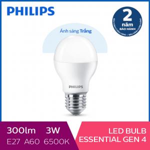 Bóng đèn Philips LED siêu sáng tiết kiệm điện Essential Gen4 3W E27 A60 - Ánh sáng trắng