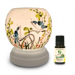 Đèn xông tinh dầu gốm Bát Tràng - Đôi Chim Xanh