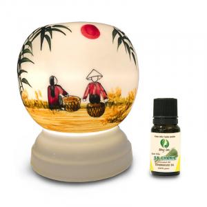 Đèn xông tinh dầu gốm Bát Tràng - Phong Cảnh Tre