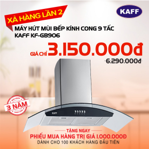 Máy hút mùi bếp kính cong 9 tấc KAFF KF-GB906