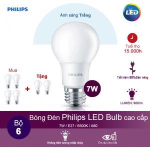 (Mua 4 tặng 2) Bóng đèn Philips Ledbulb 7W 6500K đuôi E27 230V A60 - Ánh sáng trắng