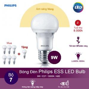 (Mua 6 tặng 1) Bóng đèn Philips ESS LEDBulb 9W 3000K đuôi E27 230V A60 - Ánh sáng vàng
