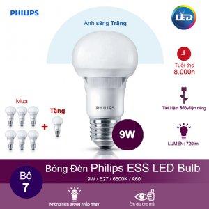 (Mua 6 tặng 1) Bóng đèn Philips ESS LEDBulb 9W 6500K đuôi E27 230V A60 - Ánh sáng trắng