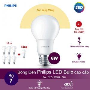 (Mua 6 tặng 1) Bóng đèn Philips LEDBulb 6W 3000K đuôi E27 230V A60 - Ánh sáng vàng