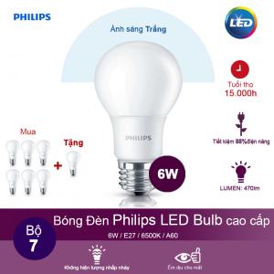 (Mua 6 tặng 1) Bóng đèn Philips LEDBulb 6W 6500K đuôi E27 230V A60 - Ánh sáng trắng