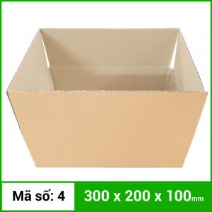 Thùng Carton gói hàng kích thước 300x200x100mm không in