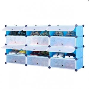 Tủ giày dép đa năng 12 ngăn Tupper Cabinet TC-12BL-W3 (Xanh cửa trắng)