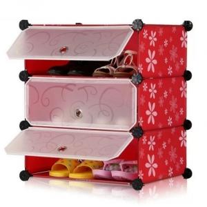 Tủ giày dép đa năng 3 ngăn Tupper Cabinet TC-3R-W1 (đỏ hoa cửa trắng)