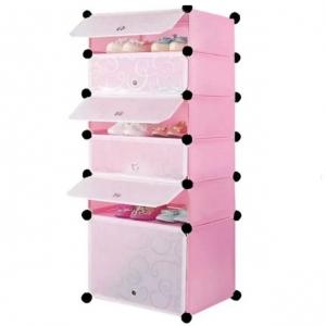 Tủ giày dép đa năng 6 ngăn Tupper Cabinet TC-6P-W2 (Hồng cửa trắng)