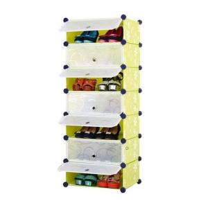 Tủ giày dép đa năng 7 ngăn Tupper Cabinet TC-7Y-W (Vàng phối trắng)