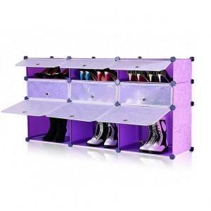 Tủ giày dép đa năng 9 ngăn Tupper Cabinet TC-9PP-W (Tím cửa trắng)