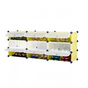 Tủ giày dép đa năng 9 ngăn Tupper Cabinet TC-9Y-W1 (Vàng phối trắng)