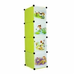 Tủ nhựa 4 ngăn Tupper Cabinet TC-4Y-C (Vàng cửa hoạt hình)