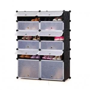 Tủ giày dép đa năng 12 ngăn Tupper Cabinet TC-12B-W3 (Đen cửa trắng)