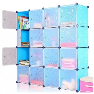 Tủ nhựa đa năng 16 ngăn Tupper Cabinet TC-16BL-W1 (Xanh cửa trắng)