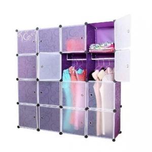 Tủ quần áo đa năng 16 ngăn Tupper Cabinet TC-16PP-W1 (Tím cửa trắng)
