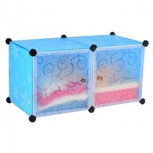 Tủ nhựa đa năng 2 ngăn Tupper Cabinet TC-2BL-W (xanh cửa trắng)