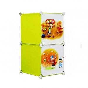 Tủ nhựa đa năng 2 ngăn Tupper Cabinet TC-2Y-C (Vàng cửa hoạt hình)