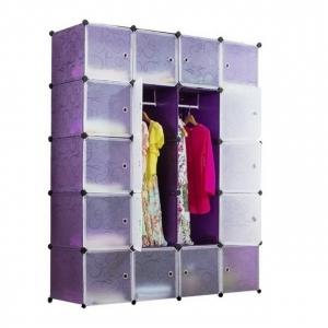 Tủ quần áo đa năng 20 ngăn Tupper Cabinet TC-20PP-W (Tím cửa trắng)